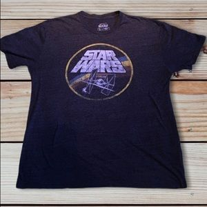 Star Wars graphic vintage logo tee gray